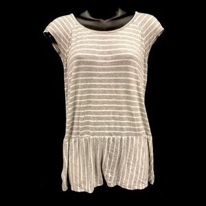 3/$20 Maurices   Striped Gray Peplum Keyhole Top